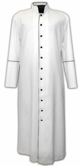 White cassock with black piping - in stock, shipping in 24h