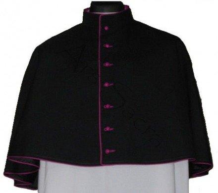 Schwarze Mozzetta mit violettem Besatz MOZZ-CZ-F